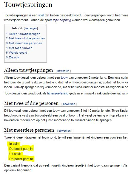Snapshot of Wikipedia Webpage of Touwtjespringen